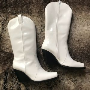 Jeffrey Campbell White Cap Toe Western Boots NEW